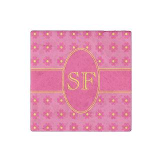Magnet En Pierre Monogramme rose et jaune de marguerite