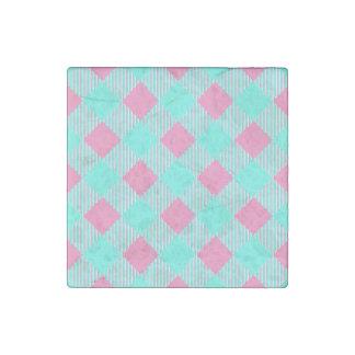 Magnet En Pierre Motif à la mode rose et bleu chic de contrôle