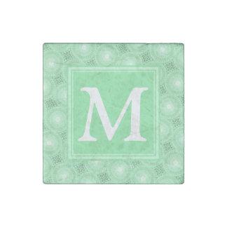 Magnet En Pierre Motif de cercles de vert de ressort de monogramme