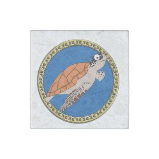 Magnet En Pierre Natation orange de tortue de mer avec un cadre