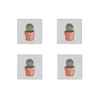 Magnet En Pierre Peu de cactus de couleur d'eau