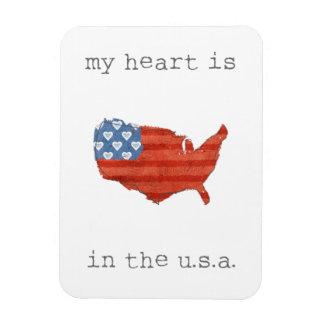 Magnet Flexible   americana mon coeur est dans la carte des