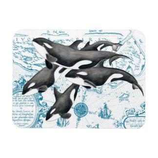 Magnet Flexible Bleu antique de famille de baleines d'orque