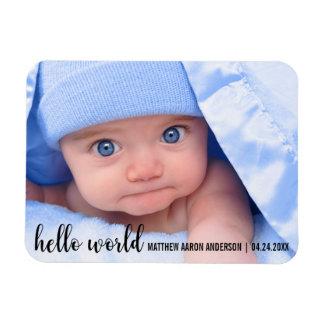 Magnet Flexible Bonjour faire-part moderne de nouveau bébé du