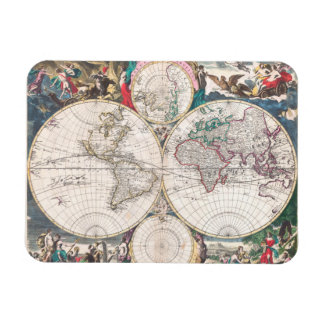 Magnet Flexible Carte antique du monde de Double-Hémisphère