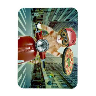 Magnet Flexible chat de pizza - chat - la livraison de pizza