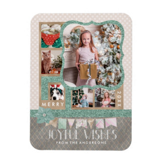 Magnet Flexible Collage joyeux de photo de coutume de Noël 6 de