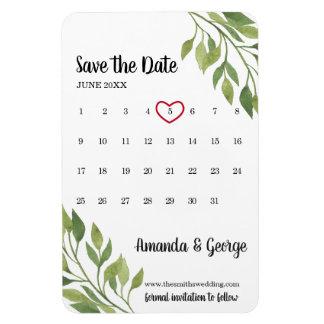 Magnet Flexible Économies de calendrier le mariage de verdure de