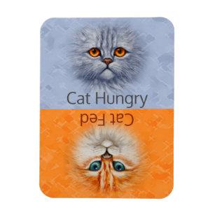 Magnet Flexible Heureux Cat Fed Sad Cat Hungry