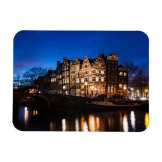 Magnet Flexible Maisons de canal d'Amsterdam la nuit