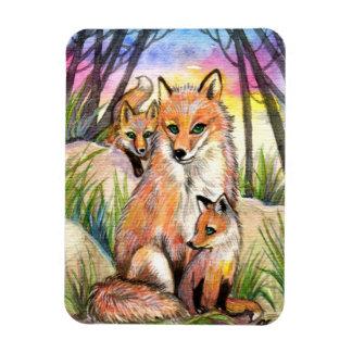 Magnet Flexible Maman Fox et renards de bébé en bois de coucher du
