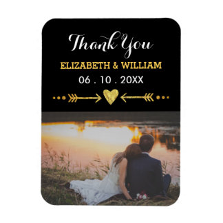 Magnet Flexible Merci d'or de photo de faveur d'aimant de mariage
