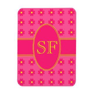 Magnet Flexible Monogramme rose et jaune de marguerite