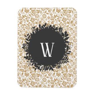 Magnet Flexible Motif floral d'or avec le monogramme gris-foncé de