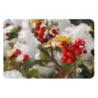 Magnet Flexible Neige et glace rouges de baies de houx