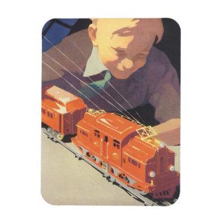 Magnet Flexible Noël vintage, garçon jouant avec des trains de