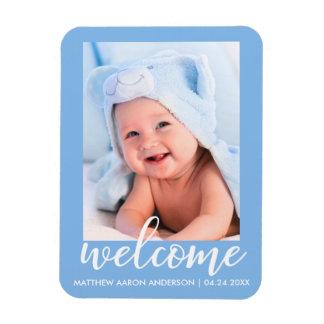 Magnet Flexible Nouveau bleu bienvenu de faire-part de bébé