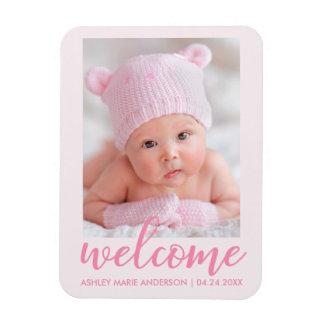 Magnet Flexible Nouveau faire-part bienvenu de bébé rose-clair