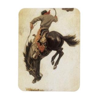 Magnet Flexible Occidental vintage, cowboy sur un cheval