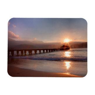 Magnet Flexible Pilier de plage au coucher du soleil, Hawaï