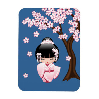 Magnet Flexible Poupée blanche de Kokeshi de kimono - fille de