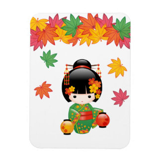 Magnet Flexible Poupée de Kokeshi de chute - fille de geisha verte