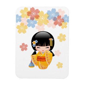 Magnet Flexible Poupée de Kokeshi d'été - fille de geisha jaune de