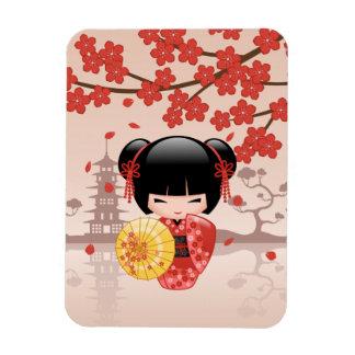 Magnet Flexible Poupée rouge de Sakura Kokeshi - geisha japonais