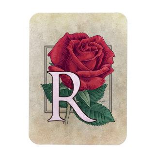 Magnet Flexible R pour le monogramme de fleur de roses