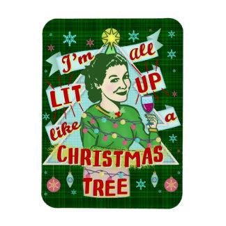 Magnet Flexible Rétro Lit potable de femme d'humour de Noël drôle