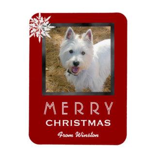 Magnet Flexible Salutation de la photo 3x4 de Noël du chien/de
