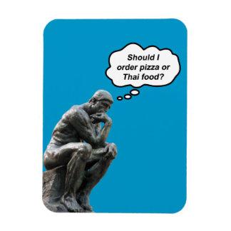 Magnet Flexible Statue drôle de penseur de Rodin - pizza ou