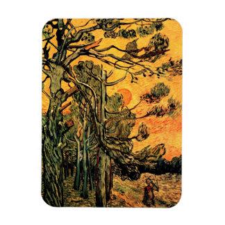 Magnet Flexible Vincent van Gogh - pins contre un ciel rouge