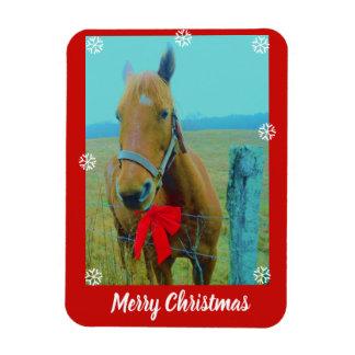 Magnet Flexible votre photo ici ou cheval et Noël rouge cintrent