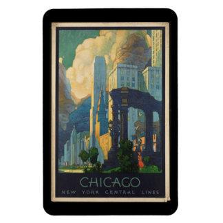Magnet Flexible Voyage vintage Chicago aux lignes centrales de New