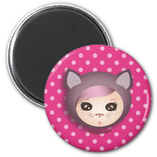 """Magnet """"Miss Kitty"""" - Collection Kiwi Doll Magnet Rond 8 Cm"""