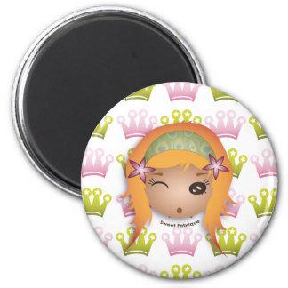 "Magnet ""Miss Princesse"" - Collection Kiwi Doll Magnet Rond 8 Cm"