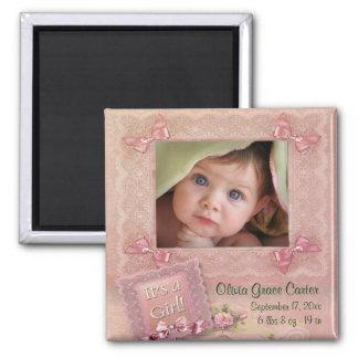 Magnet rose de naissance de cadre de photo de bébé magnet carré