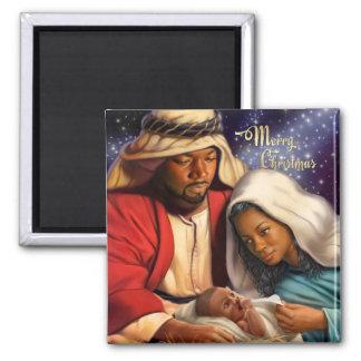Magnet saint de Noël de famille d'Afro-américain