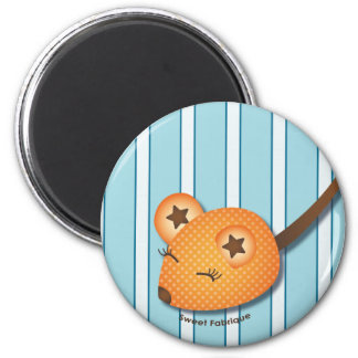 "Magnet ""Souris orange"" - Collection Kiwi Doll Magnet Rond 8 Cm"