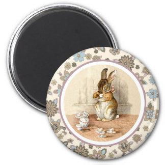 Magnet vintage de cadeau de Pâques de lapin Magnet Rond 8 Cm