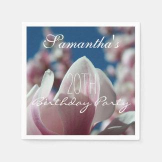 Magnolia - 20èmes serviettes de papier de fête serviettes jetables