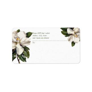 Magnolia botanique vintage de PixDezines Étiquette D'adresse