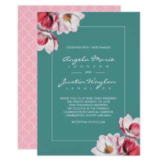 Magnolia du sud épousant le rose et le vert carton d'invitation  12,7 cm x 17,78 cm