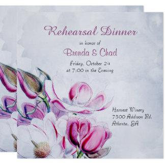 Magnolias élégantes épousant l'invitation de carton d'invitation  13,33 cm