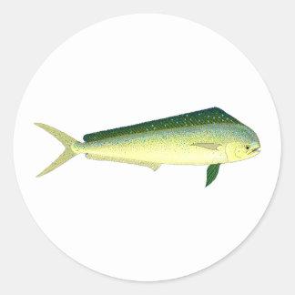 Mahi Mahi - art de poissons de dauphin Sticker Rond