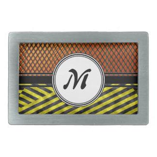 Maille orange et monogramme jaune de bande de boucle de ceinture rectangulaire