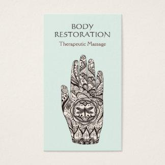 Main 1 de tatouage de libellule de henné de cartes de visite
