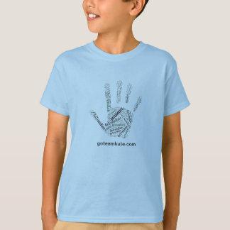 Main de bleu du T-shirt de l'enfant de GoTeamKate