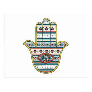 Main de HAMSA d'amulette de symbole de Fatima, Carte Postale